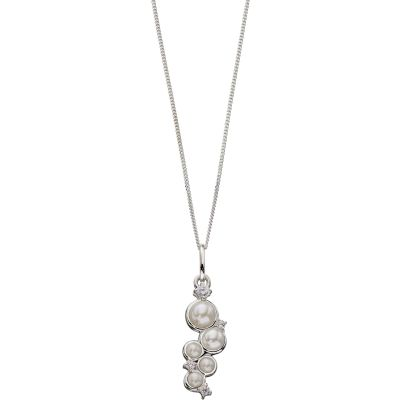 Ladies Elements Sterling Silver Cultured Pearl Necklace P4436W