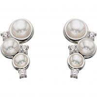 Ladies Elements Sterling Silver Cultured Pearl Stud Earrings E5359W