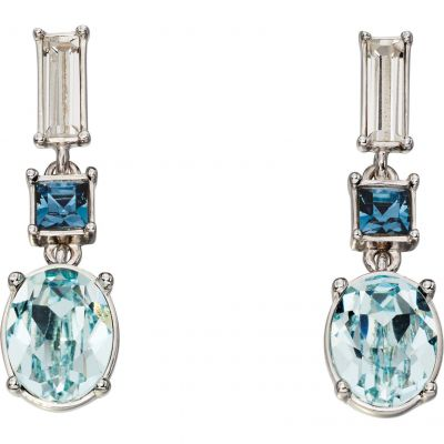 Damen Elements Blue Stone Drop Ohrringe Sterling-Silber E5362
