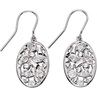 Ladies Elements Sterling Silver Floral Drop Earrings E5356C