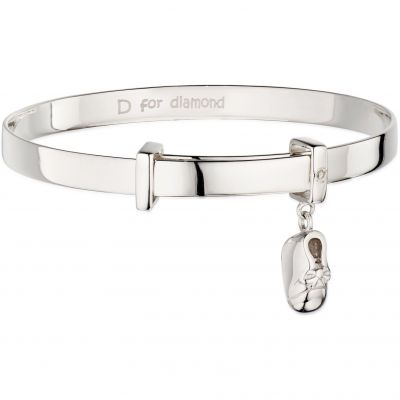 Childrens D For Diamond Sterling Silver Bootie Charm Expander Bangle B4888