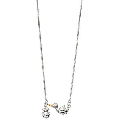 Childrens D For Diamond Sterling Silver Stork & Baby Necklace N4070