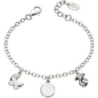 Childrens D For Diamond Sterling Silver Charm Bracelet B4889