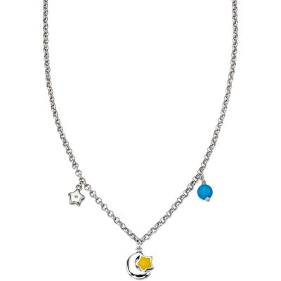 Childrens D For Diamond Sterling Silver Star & Moon Necklace N4076