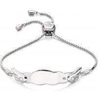 Childrens D For Diamond Sterling Silver ID Bracelet B4877