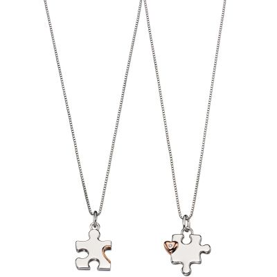 Biżuteria dziecięca D For Diamond Mother & Child Puzzle Necklace Set P4439