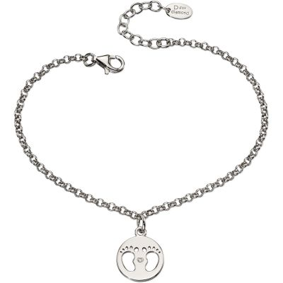 Childrens D For Diamond Sterling Silver Footprint Charm Bracelet B4945
