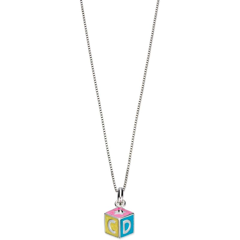 Childrens D For Diamond Sterling Silver Alphabet Block Necklace P4419