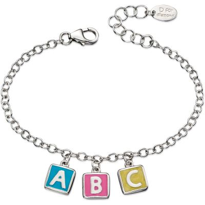 D For Diamond Barn ABC Charm Bracelet Sterlingsilver B4878