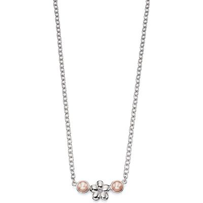 Childrens D For Diamond Sterling Silver Flower & Cultured Pearl Necklace N4071