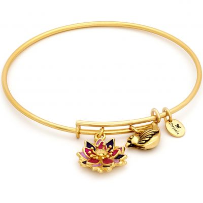 Ladies Chrysalis PVD Gold plated NATURE LOTUS FLOWER EXPANDABLE BANGLE CRBT2009GP