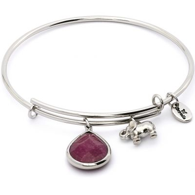 Ladies Chrysalis PVD Silver Plated JANUARY LUNAR GARNET JADE EXPANDABLE BANGLE CRBT2101SP
