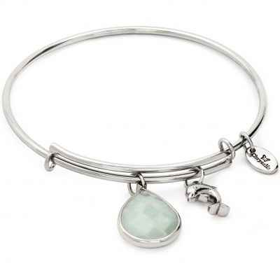 Ladies Chrysalis PVD Silver Plated MARCH LUNAR AQUAMARINE JADE EXPANDABLE BANGLE CRBT2103SP