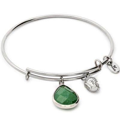 Ladies Chrysalis PVD Silver Plated MAY LUNAR EMERALD JADE EXPANDABLE BANGLE CRBT2105SP