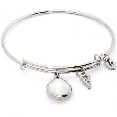 Ladies Chrysalis PVD Silver Plated JUNE LUNAR MOONSTONE EXPANDABLE BANGLE CRBT2106SP