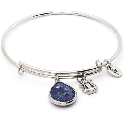 Ladies Chrysalis PVD Silver Plated SEPTEMBER LUNAR SAPPHIRE SODALITE EXPANDABLE BANGLE CRBT2109SP