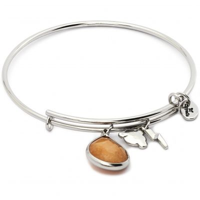 Ladies Chrysalis PVD Silver Plated NOVEMBER LUNAR CITRINE JADE EXPANDABLE BANGLE CRBT2111SP