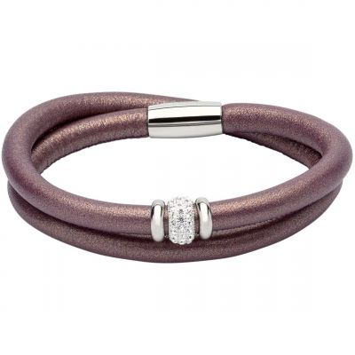 Ladies Unique & Co Stainless Steel & Leather Bracelet B355BE/19CM