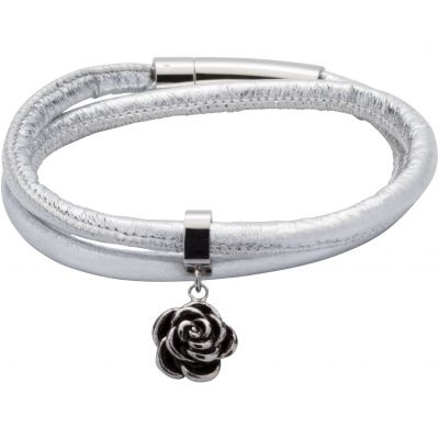Ladies Unique & Co Black Ion-plated Steel & Leather Bracelet B359SG/19CM