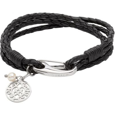 Ladies Unique & Co Stainless Steel & Leather Bracelet B362BL/19CM
