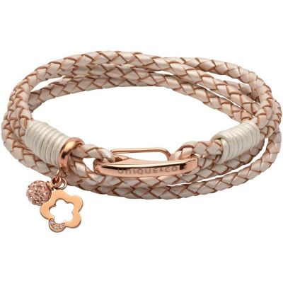 Unique Dam & Leather Bracelet Roséguldspläterad B368PE/19CM