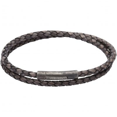 Mens Unique & Co Gunmetal PVD & Leather Double Wrap Bracelet B369ABL/21CM