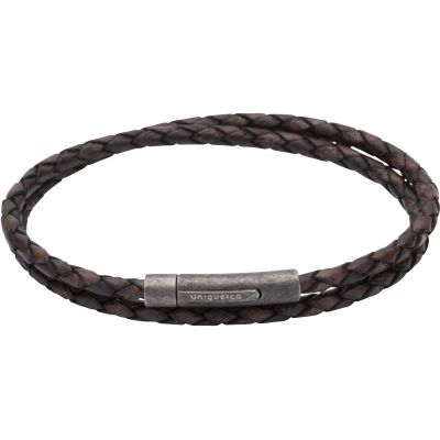 Mens Unique & Co Gunmetal PVD & Leather Double Wrap Bracelet B369ADB/21CM