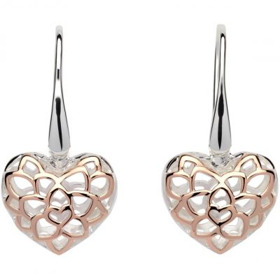 Ladies Unique & Co Sterling Silver Filigree Heart Drop Earrings ME-607