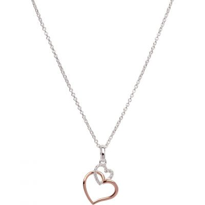 Unique Dam Double Heart Necklace Sterlingsilver MK-612