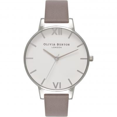 Montre Femme Olivia Burton White Dial Big Dial Silver Rose Gold & London Grey OB16BDW28