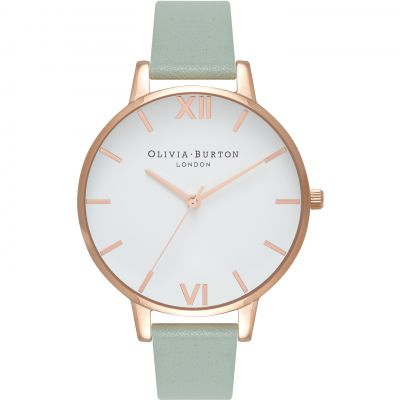 Montre Femme Olivia Burton White Dial Big Dial Rose Gold & Mint OB16BDW27
