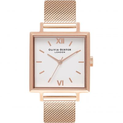Big Square Dial Rose Gold Mesh Watch