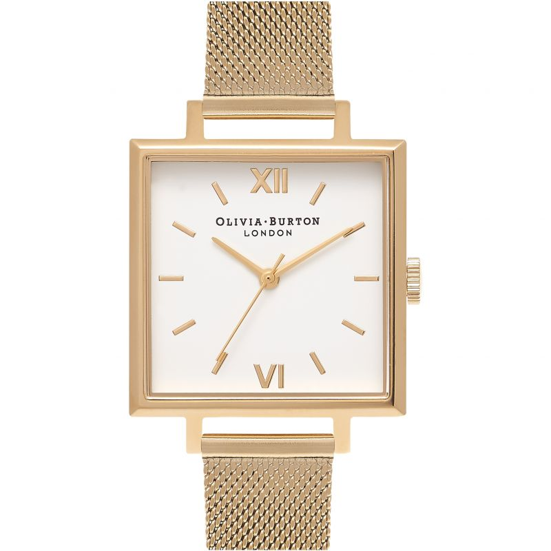 Square Dials Gold Mesh Watch