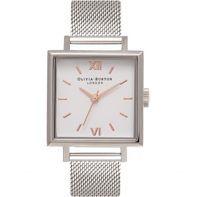 Square Dials White  & Silver Mesh Watch