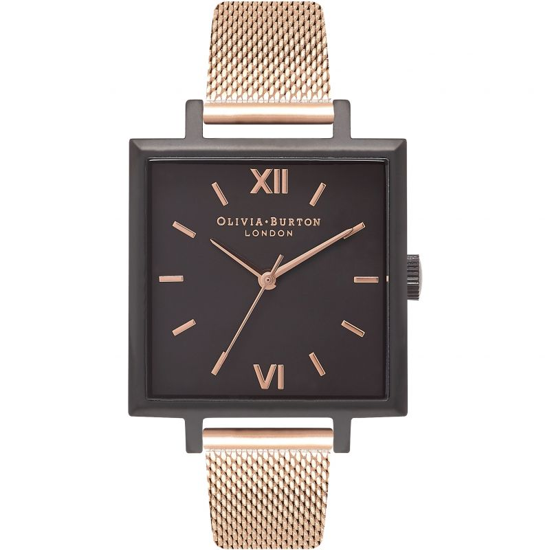 Square Dial Black & Rose Gold Watch