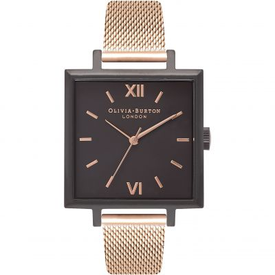 Olivia Burton Big Dial Square Dial Big Dial Square Dial Silver Rose Gold & Rose Gold Damenuhr in Rosegold OB16SS13