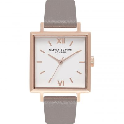 Olivia Burton Big Dial Square Dial Big Dial Square Dial Gold & London Grey Damenuhr in Grau OB16SS21