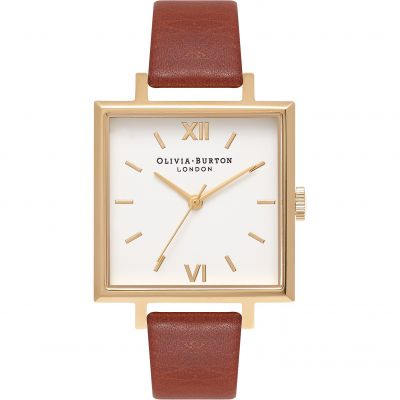 Big Dial Square Dial Silver & Tan Watch