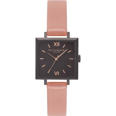 Montre Femme Olivia Burton Big Dial Square Dial Rose Gold & Black OB16SS08