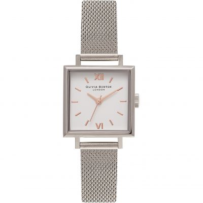 Square Dials Silver Mesh Watch