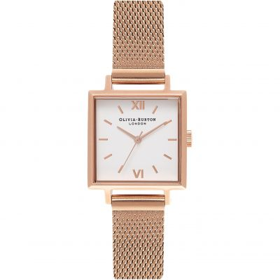 Square Dials White Rose Gold Mesh Watch