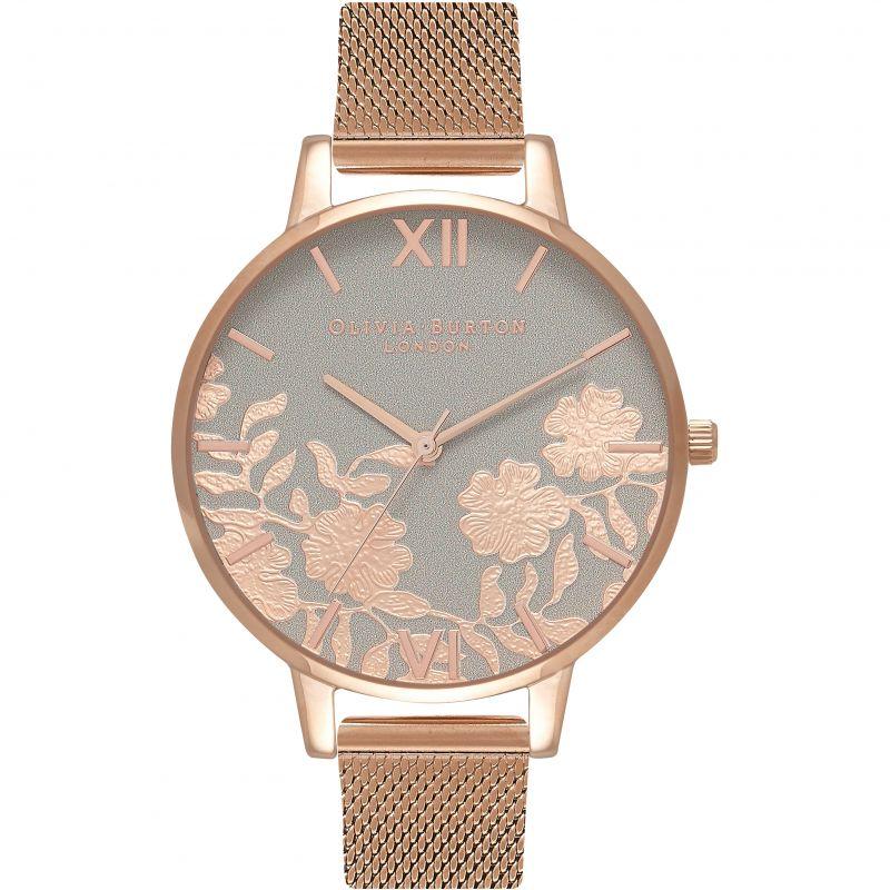 Lace Detail Rose Gold Mesh Watch