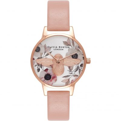 Botanical 3D Bee Dusty Pink Rose Gold Watch