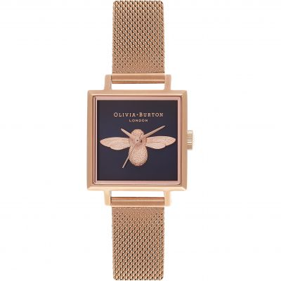 Square Dial Moulded Bee Midnight Dial & Rose Gold Watch