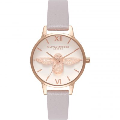 Olivia Burton Moulded Bee Moulded Bee Rose Gold & Grey Lilac Damenuhr in Lilac OB16AM106