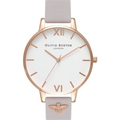 Olivia Burton Embroidered Dial Embroidered Dial Rose Gold & Blush Damenuhr in Grauweiß OB16ES02