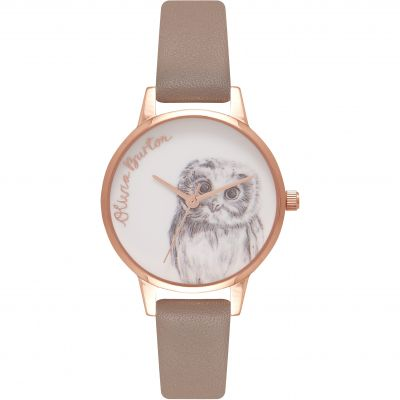 Woodland Animals Owl Rose Gold & Iced Coffee Watch