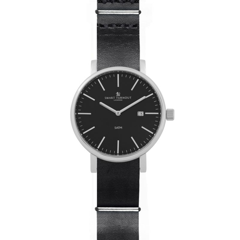 Mens Smart Turnout Duke Black Dial Watch With Black Leather Strap Watch