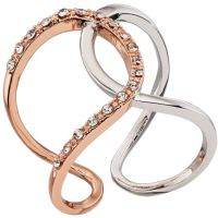 Ladies Fiorelli Two-Tone Steel and Rose Plate Ring R3509-60