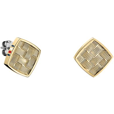 Ladies Tommy Hilfiger Gold Plated Classic Signature Stud Earrings 2700994